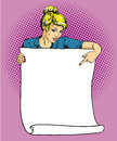 Woman holds blank white paper poster. Pop art comic retro style vector illustration. Put your own text template