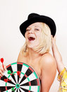 Woman holds board for darts on white Stock Photos