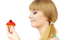 Woman holds cake strawberry cupcake Royalty Free Stock Photo