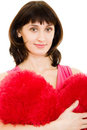 A woman holds a heart in his hands Stock Images
