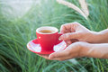 Woman holds a red coffee cup vintage style color stock photo Royalty Free Stock Photos
