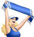 Woman holds sports team scarf and shouts a vector illustration of a holding a up high cheers Royalty Free Stock Images