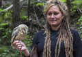 Woman holds a tame owlet tatra mountains slovak republic august in tatra mountains on august Royalty Free Stock Images
