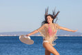 Woman on holiday in mallorca or majorca beach summer Royalty Free Stock Photography