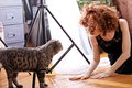 Woman at home with cat attractive young on wooden floor looking tabby Stock Photos