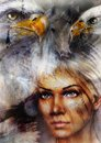collage painting of beautiful young warrior woman, white horse and two eagles Royalty Free Stock Photo