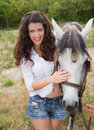 Woman and horse friendship Royalty Free Stock Photos