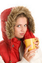 Woman with hot beverage Royalty Free Stock Images