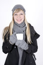 Woman with hot beverage beautiful fair haired young Stock Image