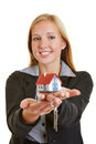 Woman with house and keys on hand young business her hands Stock Image