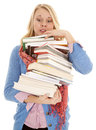 Woman huge stack of books Royalty Free Stock Photography