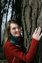 Woman hugging a tree Royalty Free Stock Photography