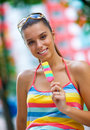 Woman with ice cream Royalty Free Stock Photo