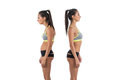 Woman with impaired posture position defect scoliosis and ideal bearing Royalty Free Stock Photo