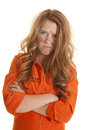 Woman inmate dirty mad a in an orange jumpsuit looks very Royalty Free Stock Images