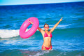 Woman with inner tube Royalty Free Stock Images