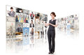 Woman introduce business women and standing in front of tv screen wall Stock Image