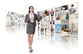 Woman introduce business women and standing in front of tv screen wall Royalty Free Stock Photo