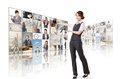 Woman introduce business women and standing in front of tv screen wall Stock Photo
