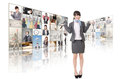 Woman introduce business women and standing in front of tv screen wall Royalty Free Stock Photos