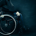 Woman invalid girl sitting on wheelchair Royalty Free Stock Photo