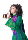 Woman irish dancer drinking beer Royalty Free Stock Images