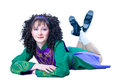 Woman irish dancer lying Royalty Free Stock Image