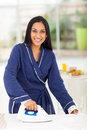 Woman ironing clothes portrait of beautiful indian Royalty Free Stock Photos