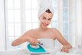 Woman ironing clothes Royalty Free Stock Photo