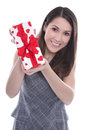 Woman isolated with a present for valentines day happy holding gift box red hearts in her hands Stock Image