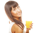 Woman isolated shot drinking orange juice Royalty Free Stock Photo
