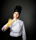 Woman italian cook chef wiht spaghetti Stock Image