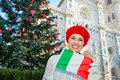 Woman with Italian flag standing near christmas tree, Florence Royalty Free Stock Photo