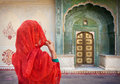Woman in Jaipur city palace Royalty Free Stock Photo