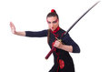 Woman in japanese martial art concept Royalty Free Stock Photos