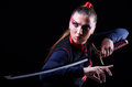 Woman in japanese martial art concept Stock Images