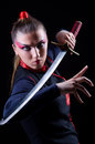 Woman in japanese martial art concept Royalty Free Stock Photo