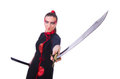 Woman in japanese martial art concept Royalty Free Stock Images