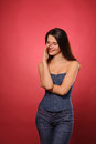 Woman in  jeans clothing Stock Photo