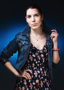 Woman in jeans gown Royalty Free Stock Photo