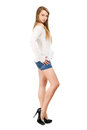 Woman in jeans shorts Royalty Free Stock Images