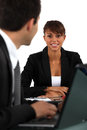 Woman in job interview young brunette women Royalty Free Stock Images