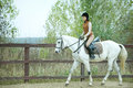 Woman jockey is riding the horse outdoor Stock Photography