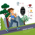 Woman Jogging and running for health use smartwatch lifestyle.