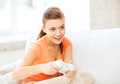 Woman with joystick playing video games entertainment home and internet Royalty Free Stock Photography
