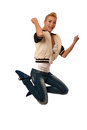 Woman jumps over white background gesturing success Royalty Free Stock Image