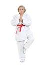 Woman in karate pose