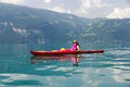 Woman kayaking Stock Photo