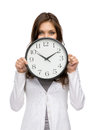 Woman keeping clock half length portrait of isolated on white Royalty Free Stock Image