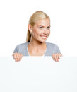 Woman keeping huge sheet of paper white isolated on white copyspace Stock Image